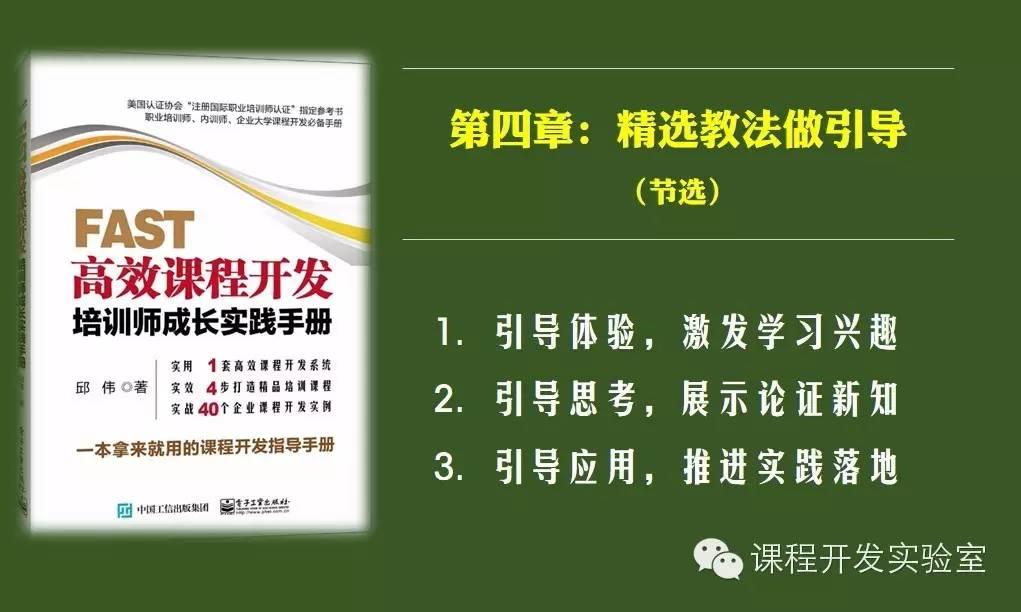 新书连载(4) 《FAST高效课程开发》 第四章 | 精选教法做引导(节选) 培训师邱伟